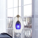 Dual Oval Clear-Blue Glass Pendant Lamp Modern 1 Light Brass LED Ceiling Suspension Light for Bedside
