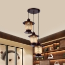 Cylinder Living Room Hanging Light Kit Retro Style Clear Prismatic Glass 3 Lights Copper Ceiling Lamp with Round Canopy