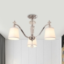 Barrel Fabric Semi Flush Mount Light Contemporary 3/6 Heads Chrome Finish Ceiling Flush with Crystal Detail