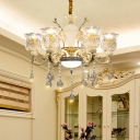 Gold Flower Pendant Chandelier Clear Glass Crystal 6 Heads Dining Room Hanging Ceiling Light