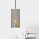 Cement Grey Pendant Light Cylinder/Dome 1-Light Industrial-Style Hanging Ceiling Lamp