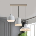 Geometric Cement Multi Light Chandelier Industrial 3 Lights Bar-Island Hanging Lamp in Grey with Round/Linear Canopy