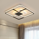Modernist LED Flush Mount Lamp Black Square Ceiling Mount Light Fixture with Acrylic Shade, 16.5