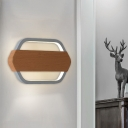 LED Bedroom Lighting Sconce Contemporary Grey Wall Lamp Fixture with Hexagon Acrylic Shade