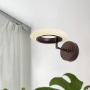 Acrylic Round Wall Lamp Contemporary Coffee/White LED Lighting Sconce with Curved Arm in Warm/Natural Light