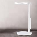 Modernist LED Desk Light White Finish Circle Reading Book Lamp with Plastic Shade