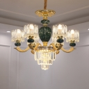 Red/Green Urn Chandelier Light Fixture Traditional Crystal 6-Light Living Room Pendant Lamp