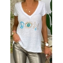 Casual Womens Short Sleeve V-Neck Cartoon Eye Moon Print Relaxed T-Shirt in White