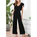 Elegant Formal Womens Black Sleeveless V-Neck Ruffled Trim Long Wide-Leg Work Jumpsuit