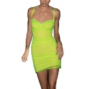 Trendy Sweetheart Neck Lace Trim Bilayer Pleated Mini Party Cami Dress
