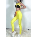 Sportswear Girls Sleeveless Crew Neck Lace Up Cut Out Colorblock Fit Crop Tank & Bow Tie Waist Letter Stretchy Leggings Co-Ords in Yellow