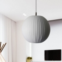 White 1 Head Hanging Pendant Simple Fabric Spheroid Suspension Light over Dining Table, 12/16 Inches Wide
