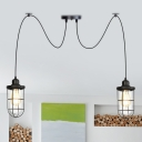 Black 2/3/6 Heads Multi Light Pendant Antiqued Clear Glass Wire Cage Swag Hanging Ceiling Lamp