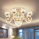 Scroll Arm Crystal Semi Flush Mount Contemporary 6/8-Light Living Room LED Close to Ceiling Lamp in Gold