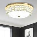 LED Round Flush Light Fixture Modern Gold Crystal Bead Flushmount Lamp for Corridor, 16