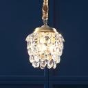 Pinecone Bedside Hanging Lamp Modern Clear K9 Crystal 3 Bulbs Brass Chandelier Light Fixture