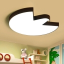 Contemporary LED Ceiling Flush Mount White/Black Pigeon Flush Light with Acrylic Shade for Bedroom