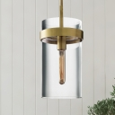 Clear Glass Tubular Pendant Lamp Simplicity Single Suspended Lighting Fixture with Brass Band