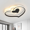 Loving Heart Flush Mount Fixture Modernist Acrylic LED Black/White/Pink Ceiling Lighting for Bedroom