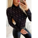 Chic Black Long Sleeve Mock Neck Heart Plaid Pattern Fitted Tee Top for Ladies