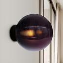 Dark Purple Rippling Glass Sphere Sconce Designer Single Wall Mounted Lighting for Terrace