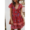 Pretty Ladies Short Sleeve V-Neck Button Down All Over Floral Printed Short A-Line Dress