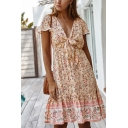 Boho Girls Short Sleeve V-Neck Bow Tie Front Ditsy Floral Pattern Ruffled Trim Contrasted Midi Pleated A-Line Dress