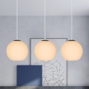 Cluster Dome Pendant Lighting Minimalist White/Silver Glass 3-Head Dining Room Hanging Ceiling Light