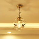 Small Globe Clear Glass Drop Pendant Designer Single Bedroom Ceiling Suspension Lamp with Butterfly Decor