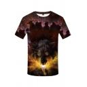 Cool Designer Boys Short Sleeve Crew Neck Wolf 3D Printed Contrasted Regular Fit Burgundy T Shirt