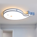 LED Bedroom Ceiling Mounted Fixture Cartoon White/Pink/Blue Flush Light with Dolphin Acrylic Shade