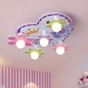 Flower Flush Mount Ceiling Light Cartoon Wood 5 Bulbs White LED Flush Lamp Fixture for Girls Room