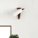Iron Swivelable Cone Sconce Nordic 1-Light Matte White Wall Lighting Ideas with Walnut Wood Backplate