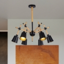 Nordic Spider Design Wood Chandelier 6 Heads Hanging Light in Black/White with Adjustable Horn Shade