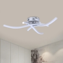 Metal Crossing Wavy Semi Flush Lamp Modernism LED Ceiling Mounted Fixture in Silver, White/Warm Light