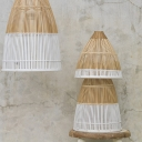 Modern Hand Twisted Bell Pendant Light Bamboo Single-Bulb Dining Table Suspension Lamp in Beige-White