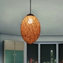 Rural 1 Bulb Ceiling Pendant Coffee/Brown Hand Braided Ellipse Hanging Light Kit with Rattan Shade