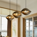 Hand-Worked Twisty Pendant Lamp Asian Creative 1 Light Restaurant Hanging Light in Brown