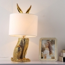 Fabric Drum Night Table Light Contemporary 1 Light Gold Nightstand Lamp with Rabbit Design