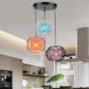 Sphere Kitchen Dinette Pendant Lamp Rattan 3 Heads Modernist Multiple Hanging Light with Bubble Ring Cage in Black