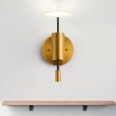 Brass Tube Wall Light Postmodernist 1 Head Metal Sconce Ideas with Flat Acrylic Shade