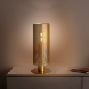 Mid Century Single-Bulb Table Lamp Gold Mesh Column Nightstand Light with Iron Lampshade
