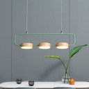 Grey/Green Rectangle Ring Island Light Macaron 3 Lights Iron Hanging Ceiling Lamp with Wood Detail