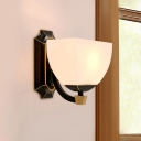 1-Light Squared Bowl Wall Sconce Traditional Black Opal Frosted Glass Wall Mount Light Fixture