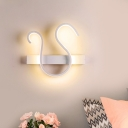 Twisting Acrylic Sconce Lighting Minimalist LED White Wall Mount Lamp in White/Warm Light for Bedroom