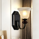Black Curved Arm Sconce Traditional Metal 1/2 Lights Living Room Wall Lamp with Floral Ribbed Glass Shade