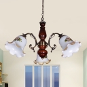 Red Brown 3-Bulb Hanging Chandelier Classic Style White Glass Flower Suspension Light