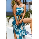 Pretty Summer Ladies Sleeveless All Over Flower Print Slit Side Long A-Line Cami Dress in Blue