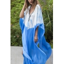 Casual Middle East Batwing Sleeve V-Neck Colorblock Slit Sides Maxi Oversize Dress in Blue