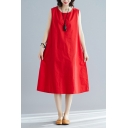 Stylish Solid Color Sleeveless Round Neck Linen and Cotton Mid Oversize Tank Dress for Women